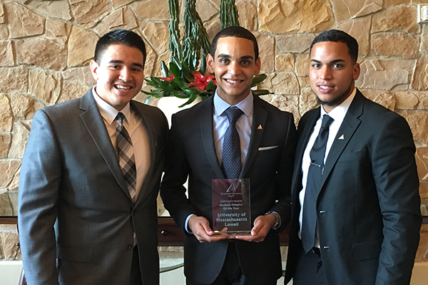 From left, ALPFA members Edwin Naranjo, Christopher Nunez and Michael Ortiz share the UMass Lowell chapter's award in Dallas.