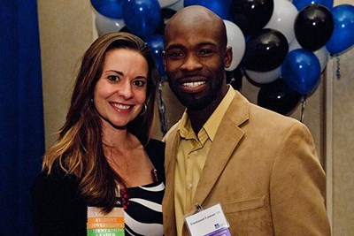 Alumni volunteer Emmanuel Lamour '05, '16 with Heather Makrez, executive director of alumni relations