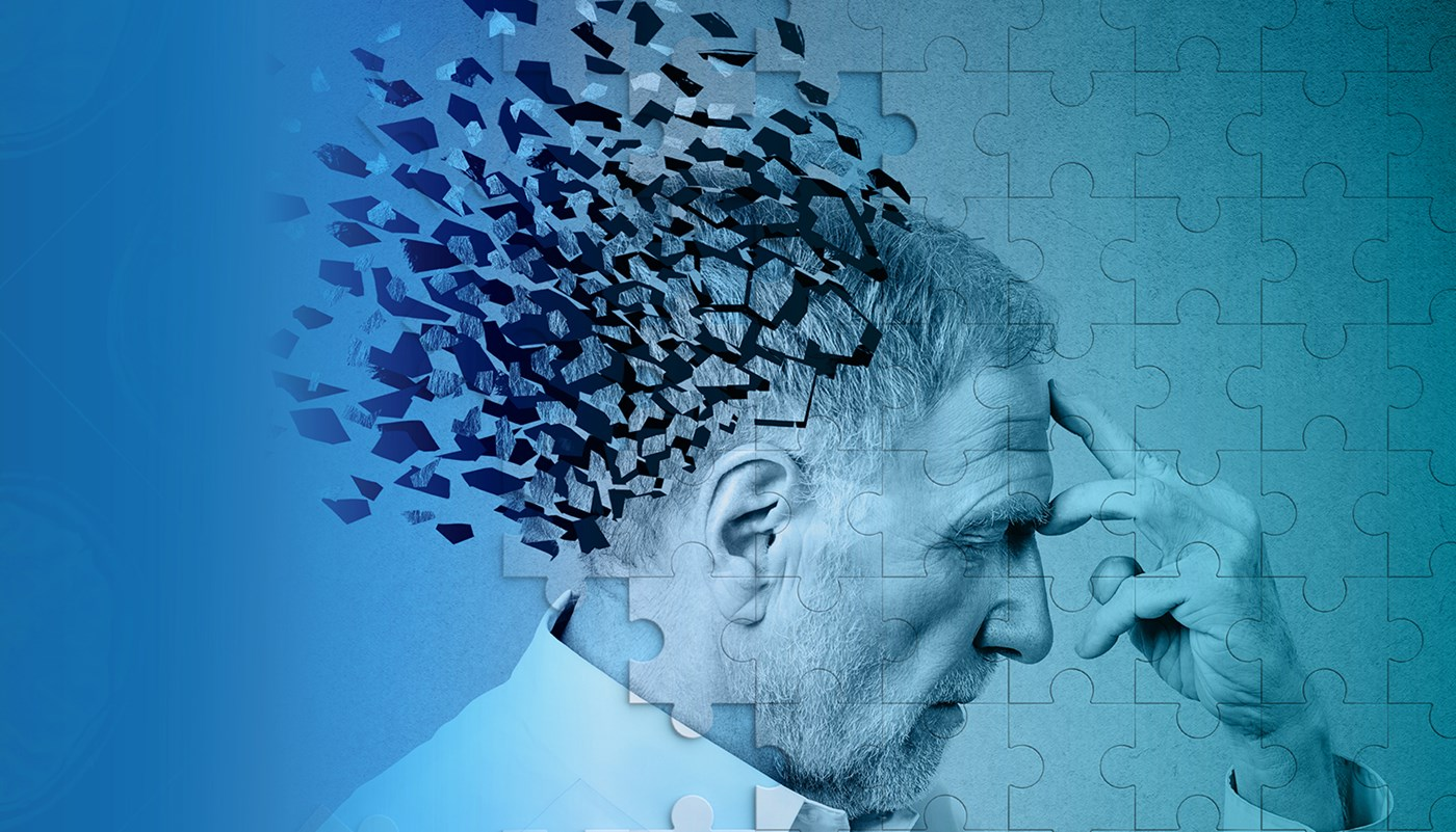 photo illustration of older man whose head is disintegrating into puzzle pieces