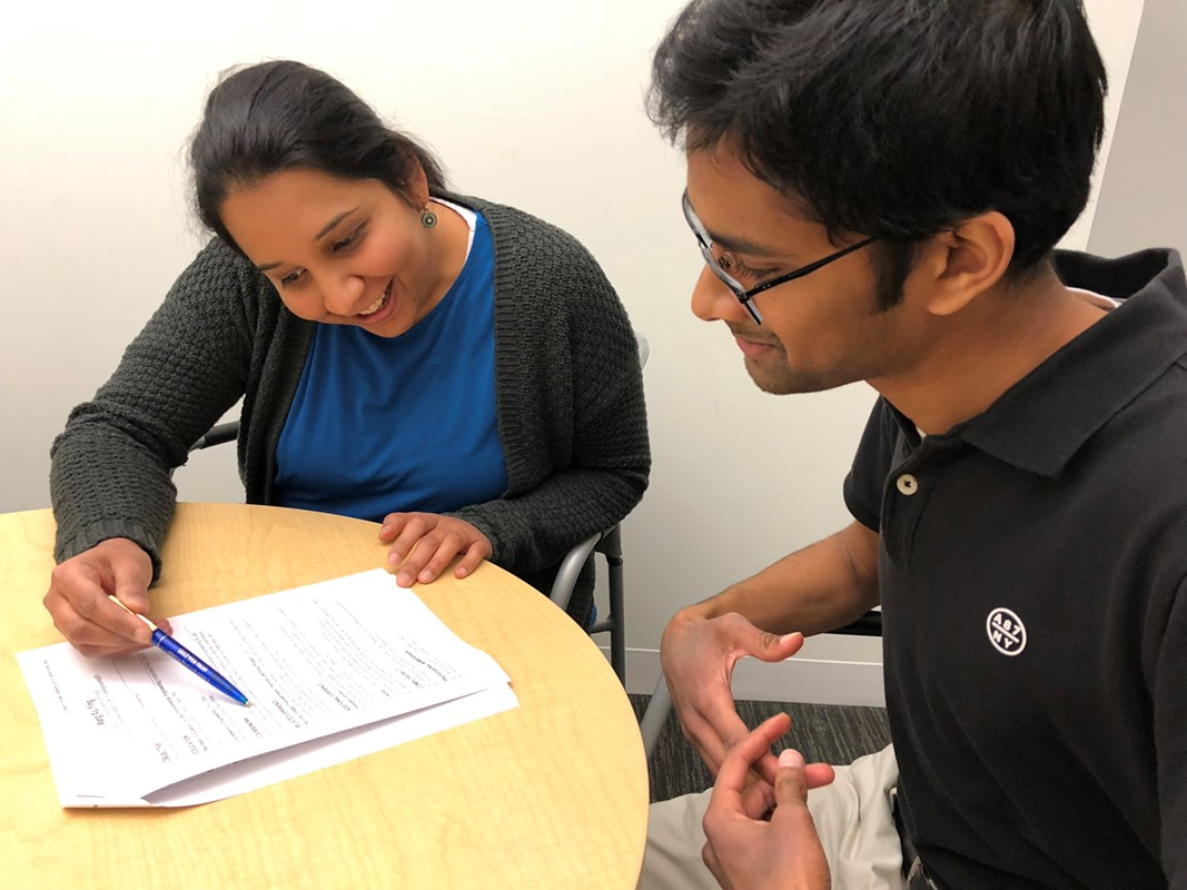 Career Counselor Sushmita Ramachandran meets with a student at UML's Career & Co-op Center