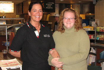 Claire Cedrone and Heather Toomey enjoy a less harried moment at Southwick Food Court.