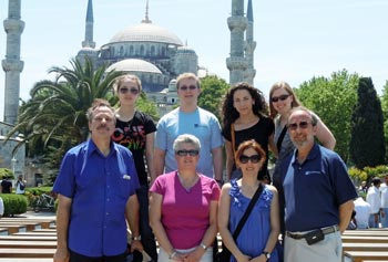 UMass Lowell faculty and students pose in front of the Blue Mosque in Istanbul, Turkey, prior to attending the assistive technology workshop in June. Back row, from left: students Erin Webster, David Harrington, Emma Barnard and Erin Reusch. Front row, from left: Profs. Steve McCarthy, Deirdra Murphy, Alkim Akyurtlu and Craig Armiento.