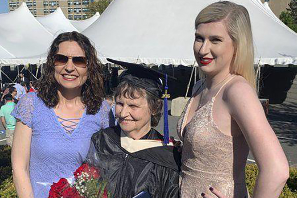 From left, Deirdre Hutchison, Mary Humble and Georgina Hutchison at the UMass-Lowell commencement ceremony, where Humble received her bachelor's degree in liberal arts.