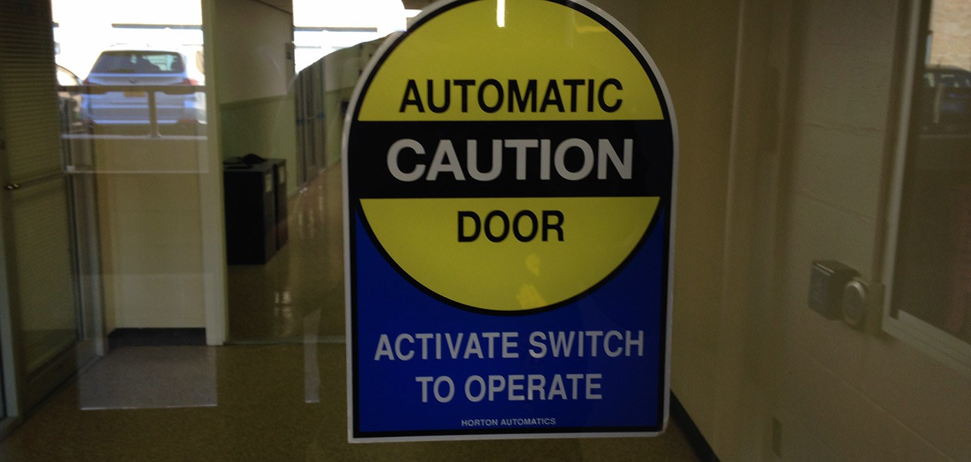 Automatic Door sign - Cumnock Hall.