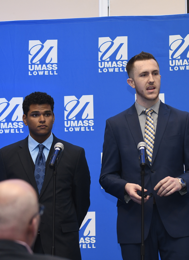 Benjamin Mcevoy and Edward Morante pitch Benji Ball at the finals of the 2019 DifferenceMaker Idea Challenge