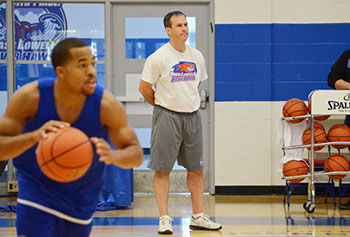 Pat Duquette, new head coach of men's basketball at the University of Massachusetts Lowell, runs practice in the Costello Gym recently. Duquette, a graduate of Wahconah Regional High School and Williams College, is one of only 350 Division I men's basketball coaches in the nation. (Courtesy Lowell Sun / Ashley Green)