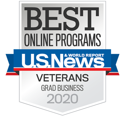 U.S. News & World Report badge for Best Online Graduate Business Program for Vets