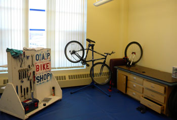 The Fix My Ride repair shop is located on the second floor of the Campus Recreation Center.