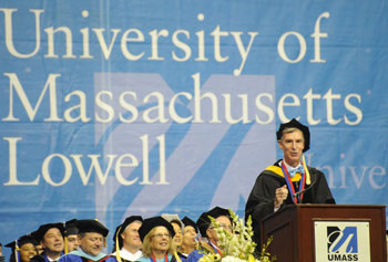 Bill Nye, the Science Guy, delivers the Morning Commencement address at the Tsongas Center.
