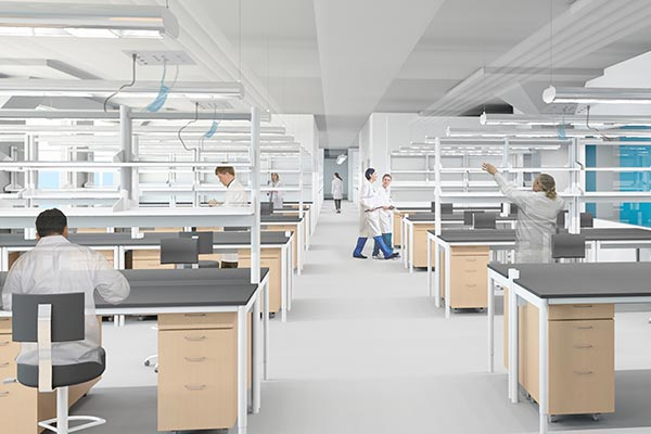 This architectural rendering from Perkins+Will shows how the renovated lab spaces in Perry Hall on North Campus will look like when its doors open in spring 2019.