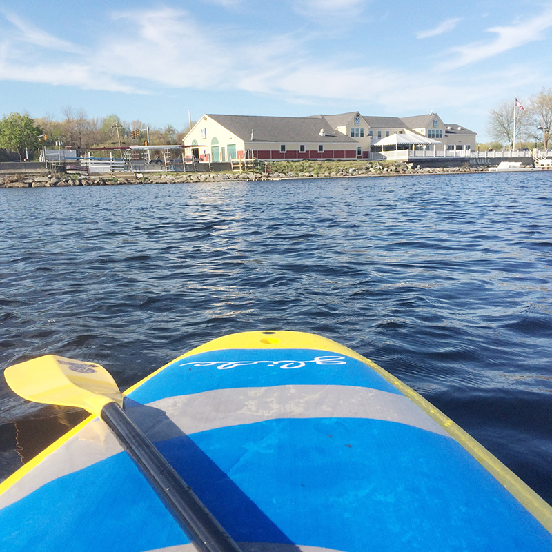 UMass Lowell boathouse from river