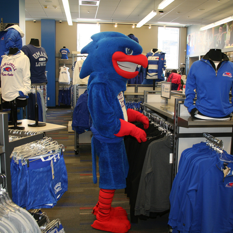 UML Mascot Rowdy the River Hawk shops in the River Hawk Shop for UML clothing