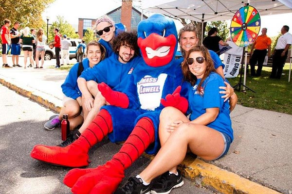 UMass Lowell's mascot Rowdy the River Hawk will help raise money for the Muscular Dystrophy Association during the game when the men's hockey team faces off against the defending national champion Providence College Friars on Saturday, Jan. 23.