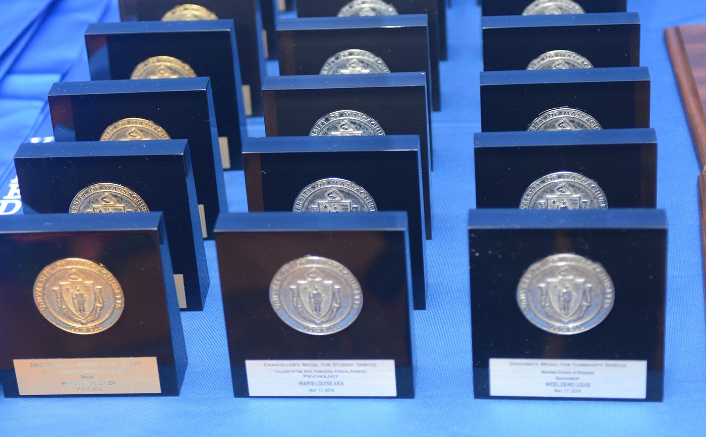 The chancellor's medals lined up on a table. Photo from 2014.