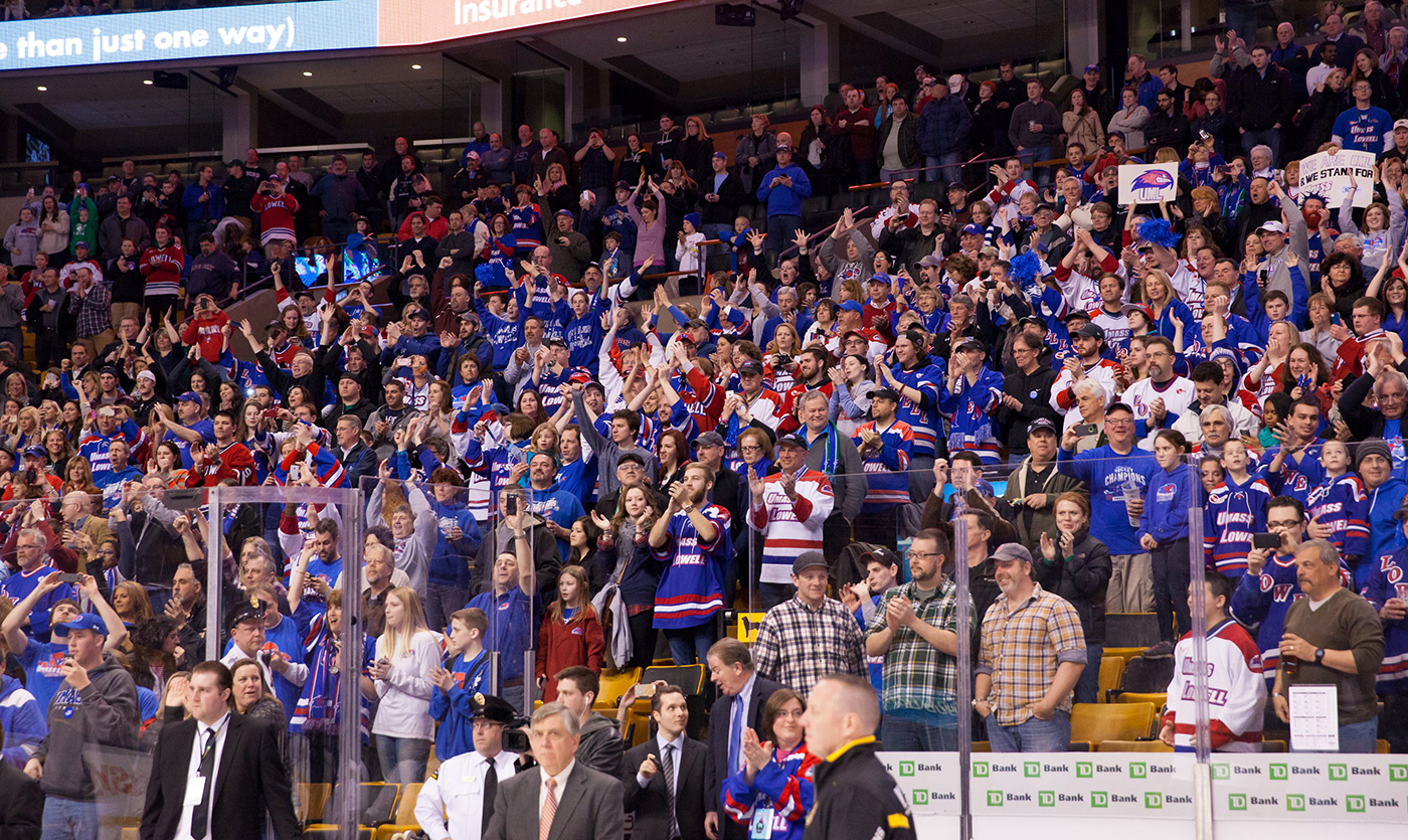 Fans at the Tsongas Center cheer on the UMass Lowell hockey team.