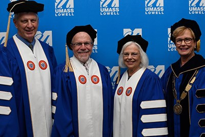 Jack Wilson, Jerry and Joyce Colella and Chancellor Jacquie Moloney at UMass Lowell Commencement