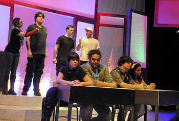 "Actors in the Off-Broadway Players' production of ""columbinus"" played multiple roles to illuminate the Columbine shooting tragedy."