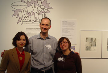 Graphic novelists, from left, Veronica Fish, Gareth Hinds and Liz Prince visited UMass Lowell in March for a panel discussion to kick off the exhibit featuring their work.