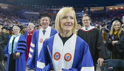Judy Woodruff processes into the commencement ceremony.