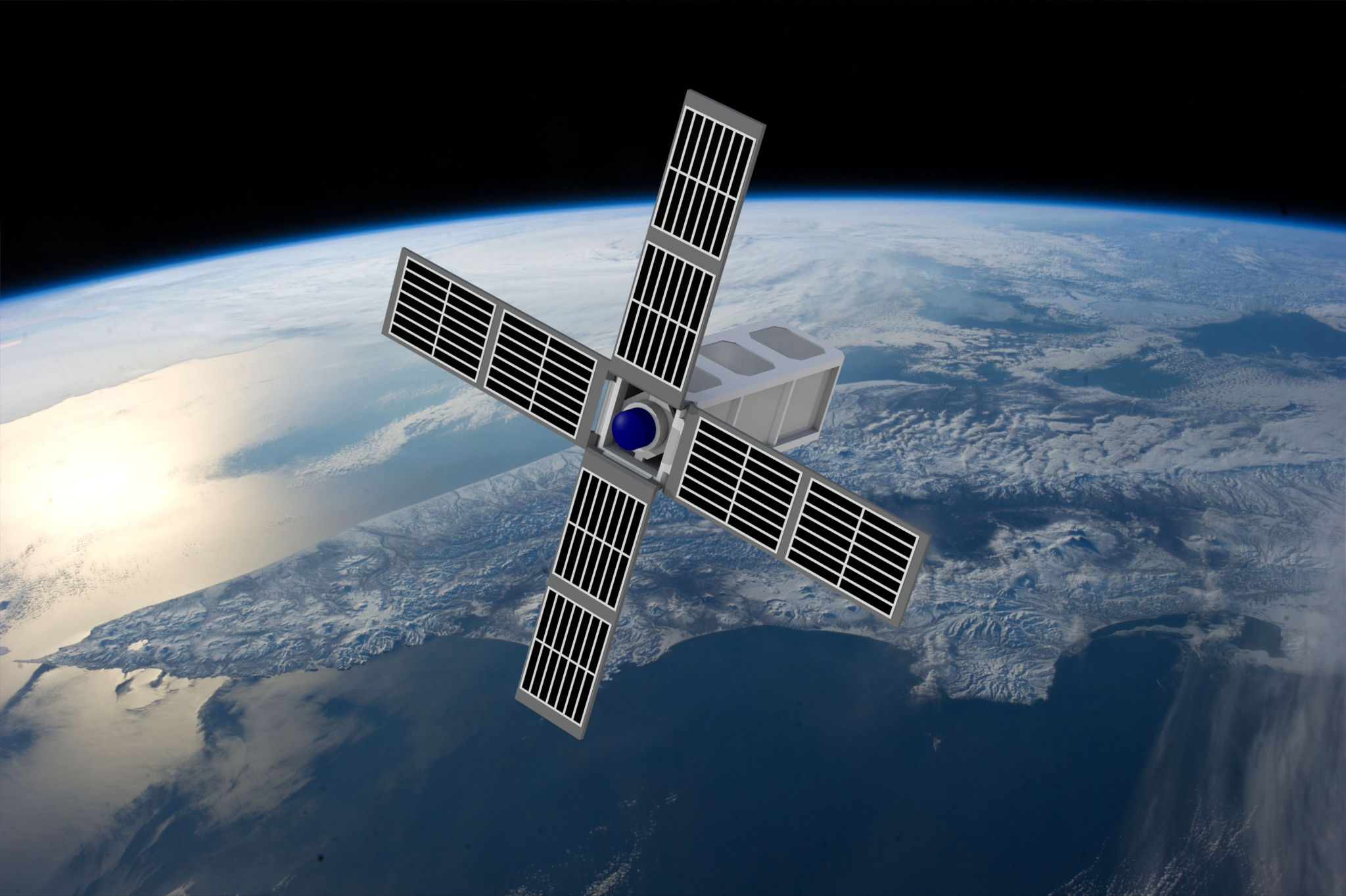 Conceptual rendering of the SPACE HAUC CubeSat in orbit