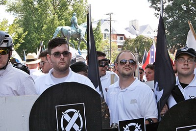White supremacists at a Charlottesville, Va., rally
