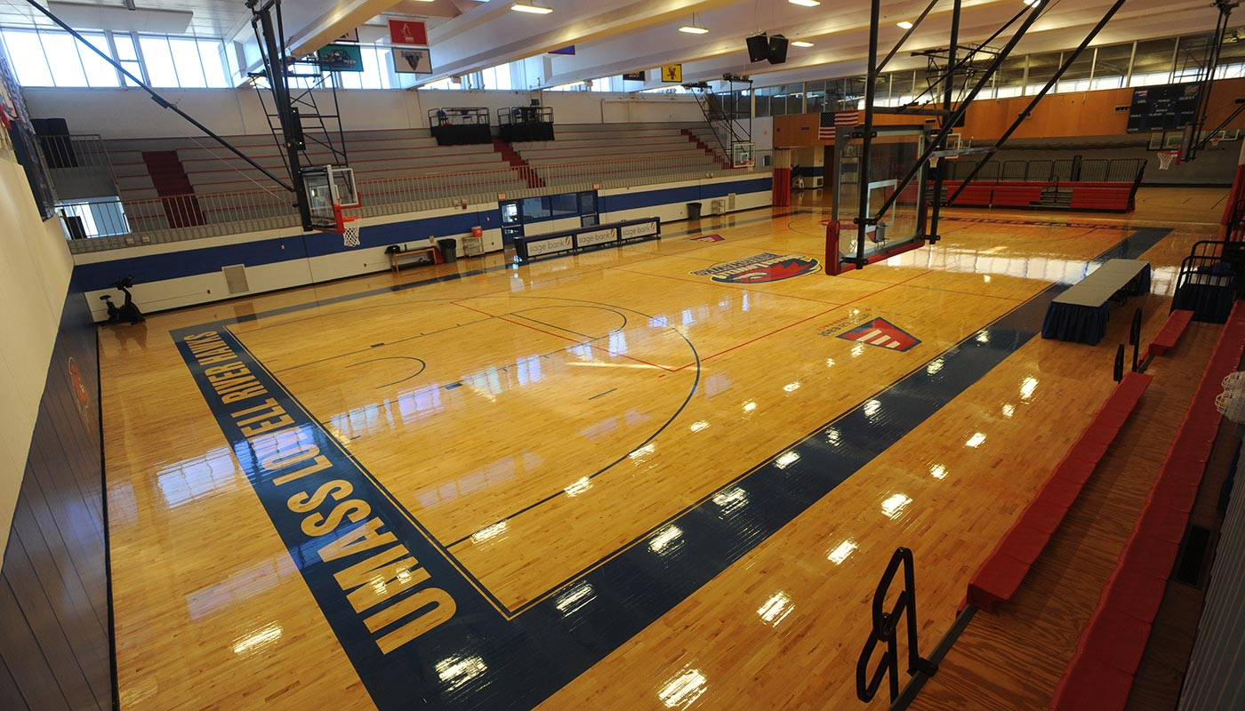 Basketball court at Costello Athletic Center at UMass Lowell