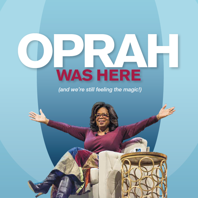 "Shot of the magazine cover - Oprah with her arms spread against a blue ""O"""