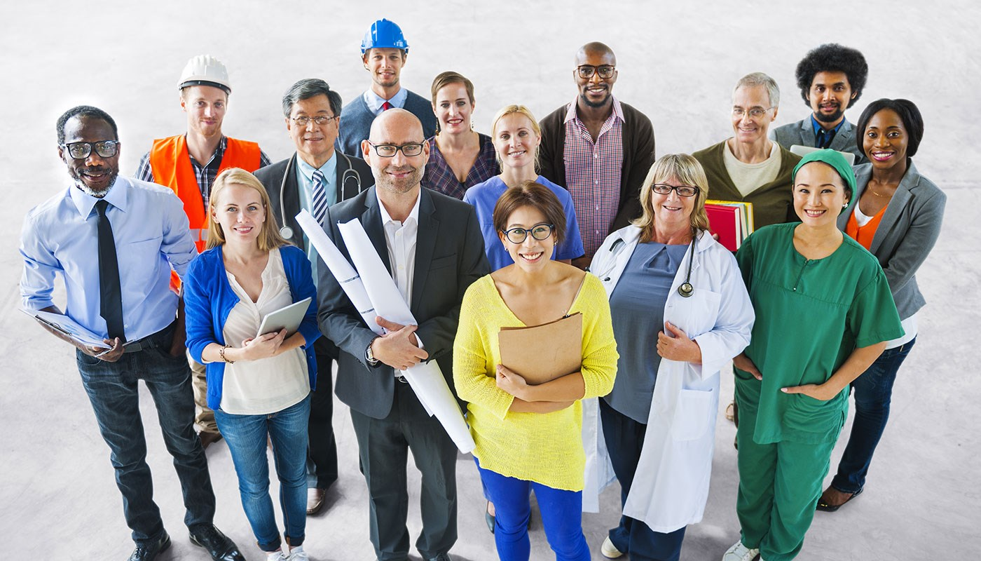 Group of diverse workers