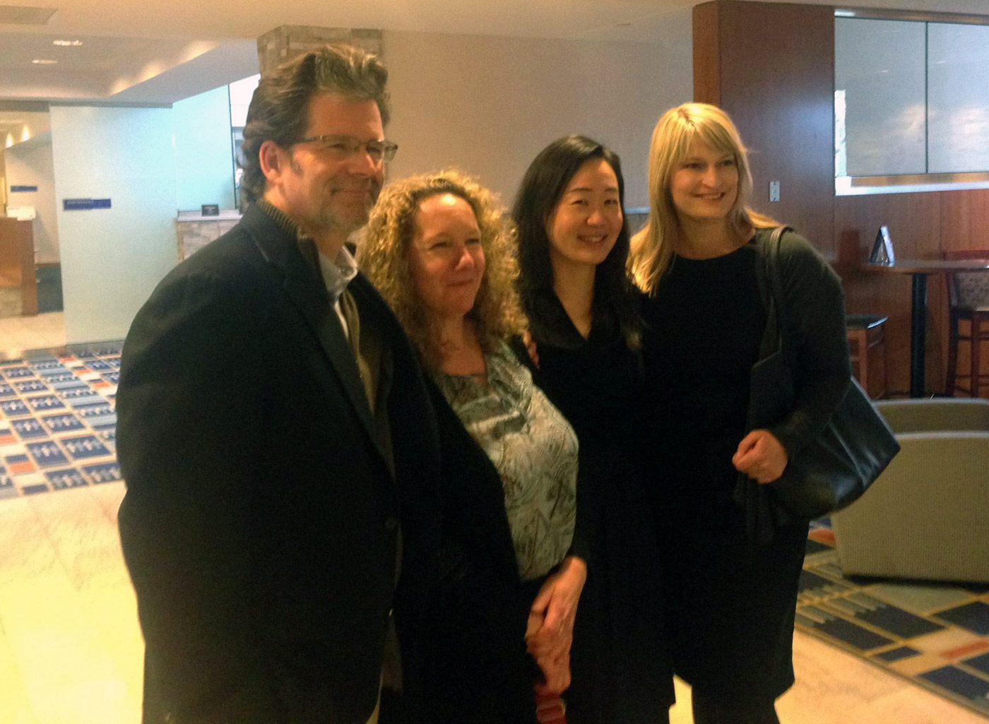 Creative writing faculty Andre Dubus, Maureen Stanton, Sandra Lim, and Maggie Dietz