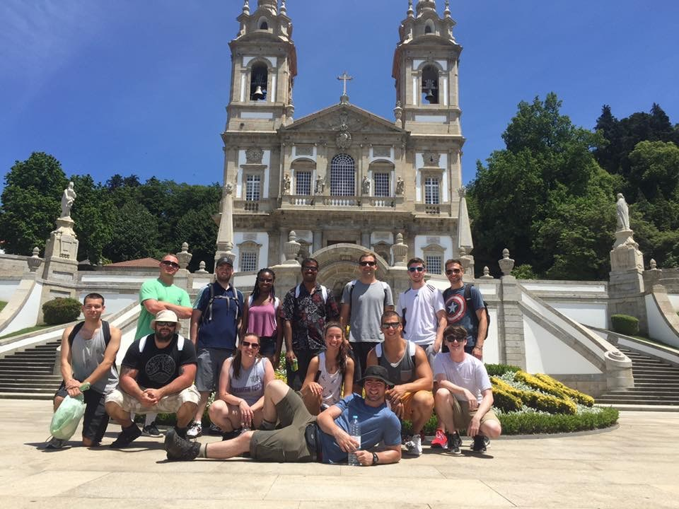 Criminology students pose for a group photo on a study abroad trip in Portugal.