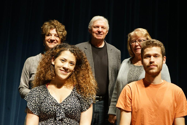 "Deep Blue C members, back row from left, Christine Petrucci '74, '79, David ""Doc"" Voss and Margaret Hopkins '77 and student interns, front, from left, Alexia Hernandez and Daniel Jacavanco."