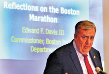 Boston Police Commissioner Ed Davis headlines a forum at the UMass Lowell Inn & Conference Center Tuesday to mark the launch of UML's Center for Terrorism and Security Studies.