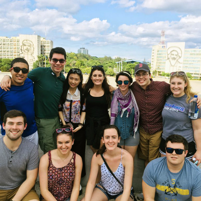 Group picture of students from 2017-2018 UMass Lowell Winter Study Abroad trip to Cuba. This traveling seminar will use the Cuban experience as a backdrop for experiential learning, along with discussions with professionals in that particular field of study, and writing assignments designed to allow students to reflect upon their experience studying and living in Cuba. Students will gain a multi-disciplinary overview of Cuban contemporary culture. and further understanding from a cultural, socio-political and historical context.
