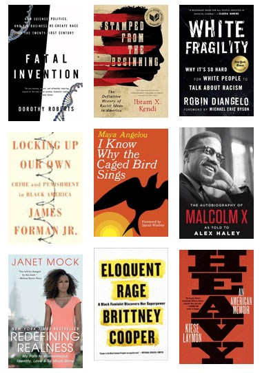 Array of nine book covers