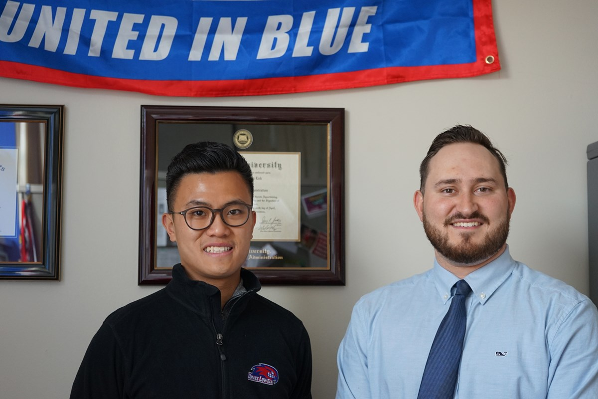 Daniel Barros (right) who helped start a unified basketball league with John Luk (left), coordinator of intramural sports and youth programs at the Campus Recreation Center