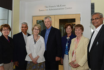 From left, Judith Cone, University of North Carolina-Chapel Hill's special assistant to the chancellor for innovation and entrepreneurship; Desh Deshpande; Mary Sue Coleman; Jack Wilson, University Professor of higher education, emerging technologies and innovation; Jacqueline Moloney; Vice Chancellor for Finance and Operations Joanne Yestramski; and Raj Melville.