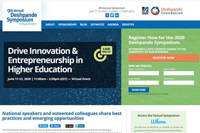 Screen grab of symposium website landing page