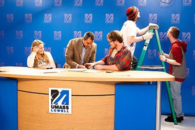 digital studies students in TV studio