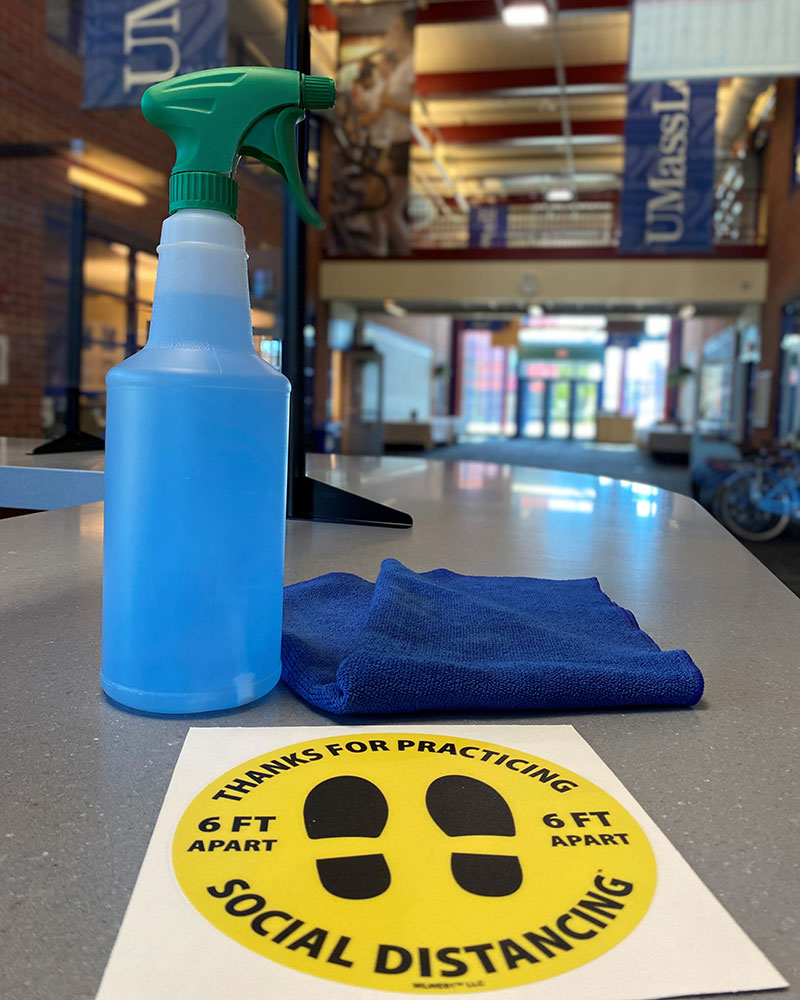 Spray bottle and cloth on CRC counter