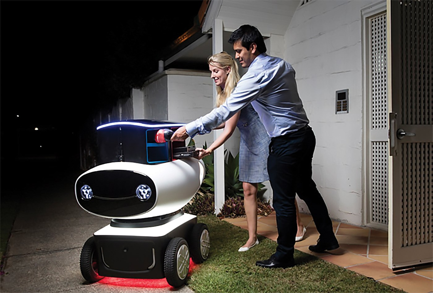 Robot delivering pizza to a couple