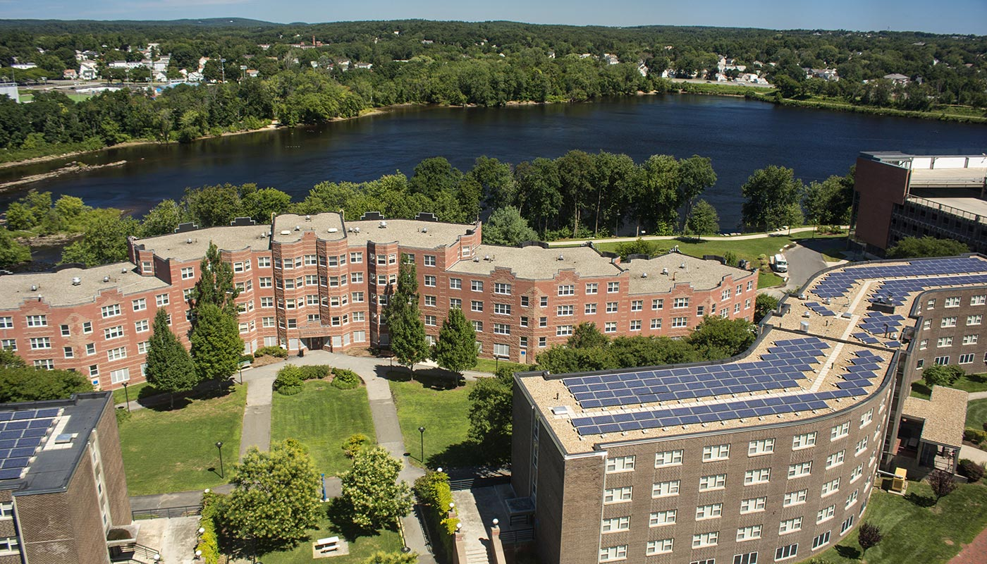 Aerial shot of UMass Lowell East Campus featuring Donahue Hall