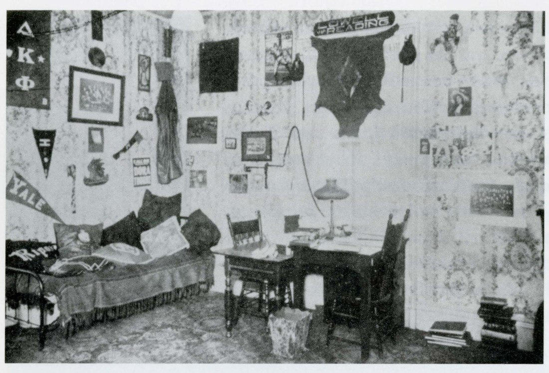 A decorated dorm room at Lowell Textile School in 1921