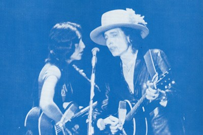 Joan Baez (left) and Bob Dylan serenade the crowd at Costello Gymnasium on Nov. 2, 1975
