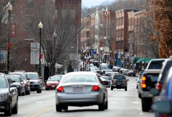 Downtown Haverhill, where UMass Lowell will open a satellite campus next year.