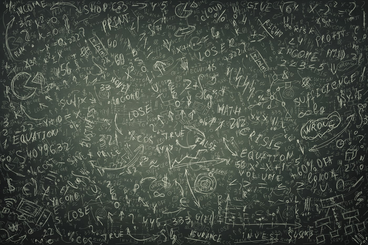 A green board covered in economics equations, graphs and charts.