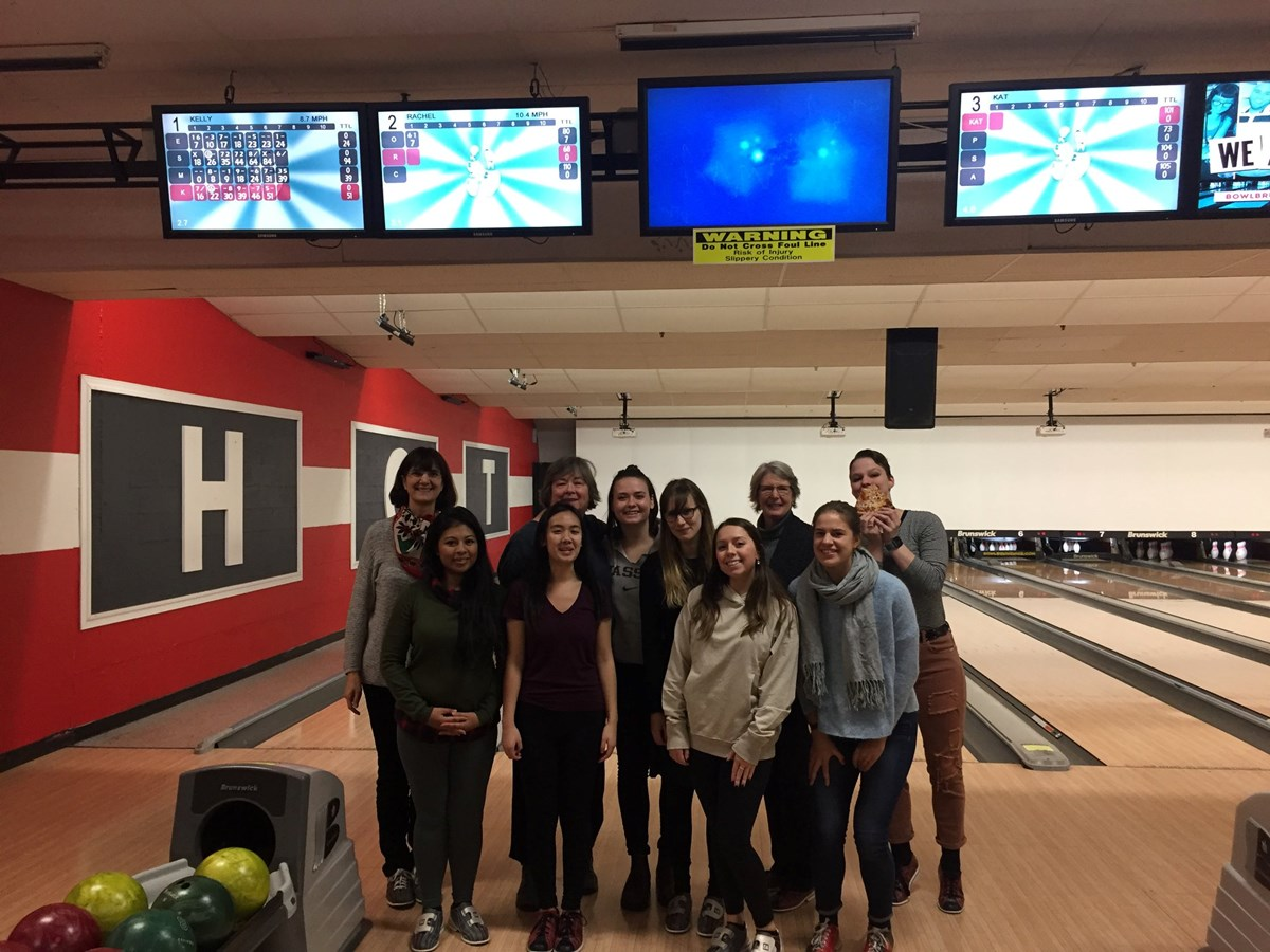 "In this picture are a group of female professors and students in the department. They had a bowling game as one ""women in economics"" event."