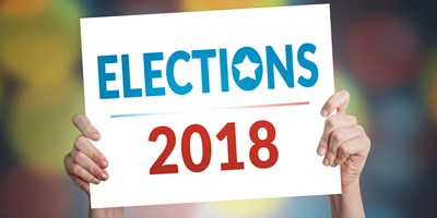 Sign with Elections 2018 printed on it
