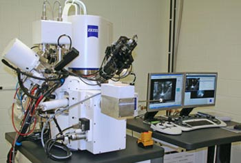 UMass Lowell's brand-new Auriga focused ion-beam scanning electron microscope made by Carl Zeiss is located at the Materials Characterization Laboratory on the North Campus.