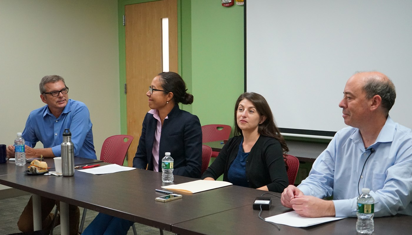 Historian and assistant professor Elizabeth Herbin-Triant sits on a panel at UMass Lowell