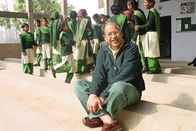"Textile engineering alumnus and former DuPont executive Virendra ""Sam"" Singh '65 pictured at Pardada Pardadi, a school he built for girls in rural India"